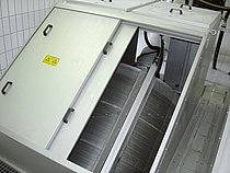 ROTAMAT® Rotary Drum Fine Screen Ro 2 installed in the channel with a movable stainless steel cover, size 600 to 3000